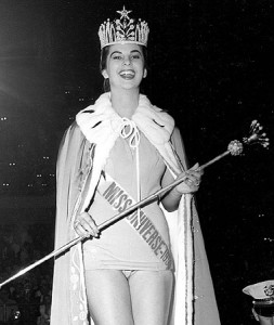 Proudly walking the runway after winning the crown, Luz  Marina Zuluaga, from Colombia became MISS UNIVERSE 1958.  From the moment her name was announced as Miss Universe, her life changed forever, as has for the other 49 Miss Universe title  holders.